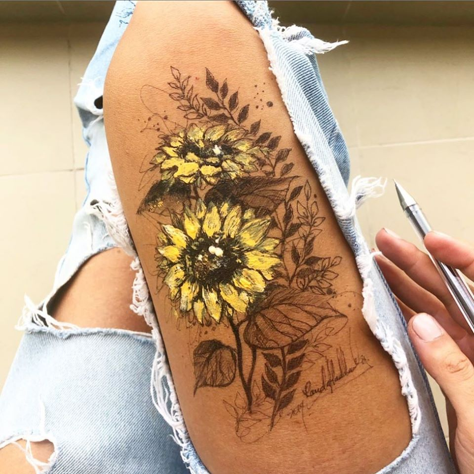 ink drawing thigh yellow flowers randa haddadin