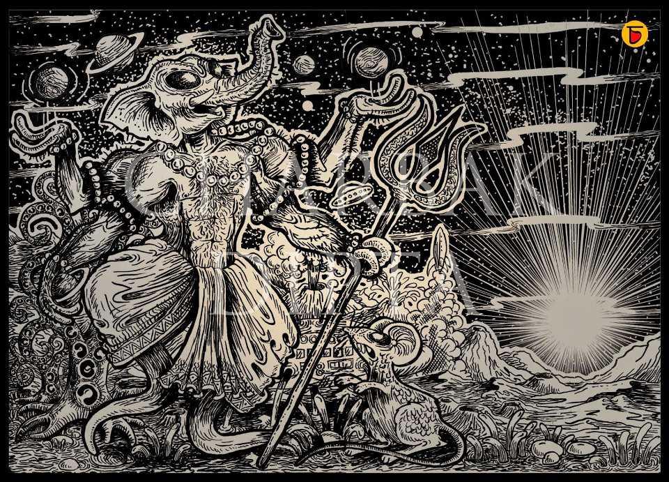 alien ganesh sketch charbak dipta