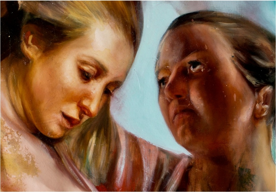 faces oil painting angela