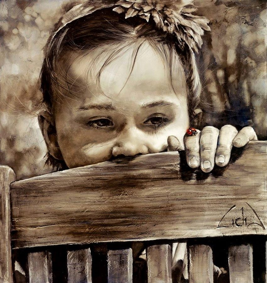 little girl oil painting lidia