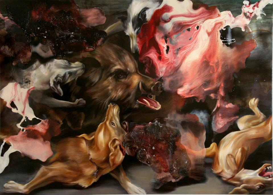 wolves oil painting angela