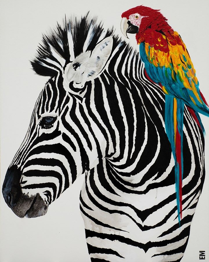 zebra and macau painting emma sheldrake