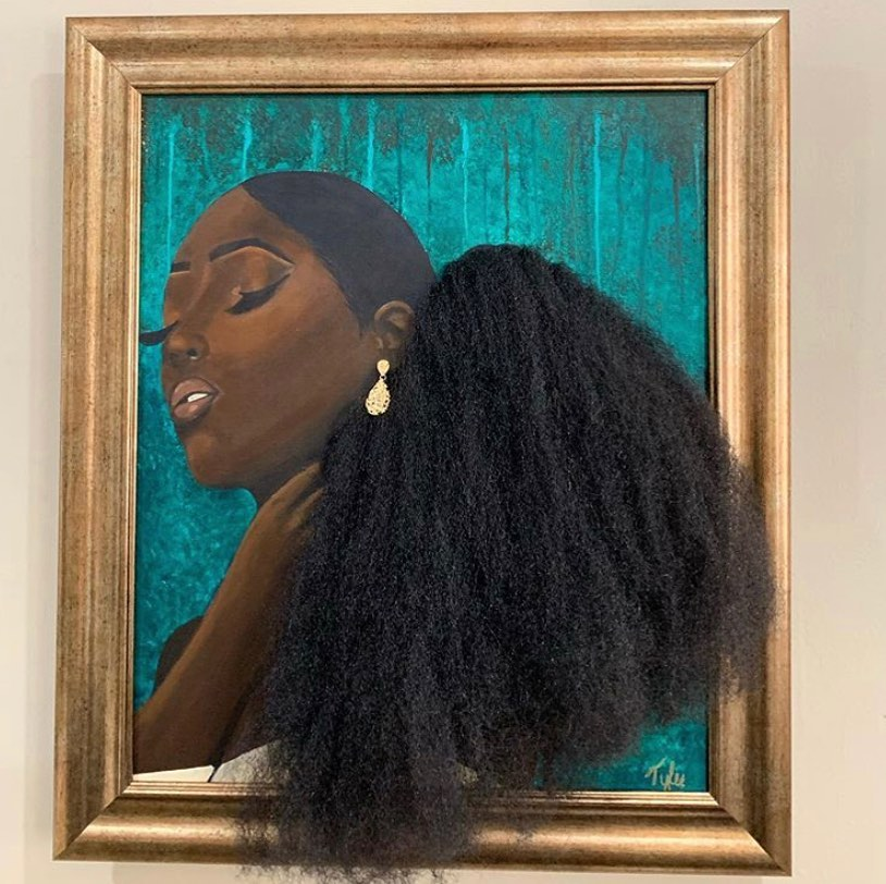 woman portrait painting artwork real hair extensions by tyler clarke