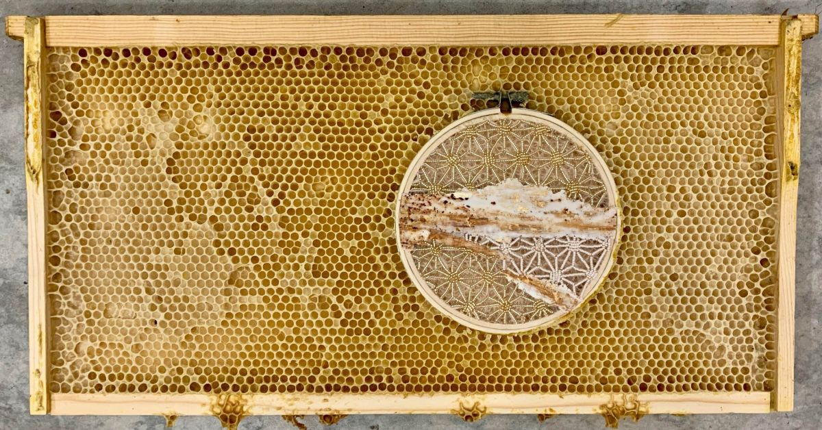 embroidery art beehive by ava roth