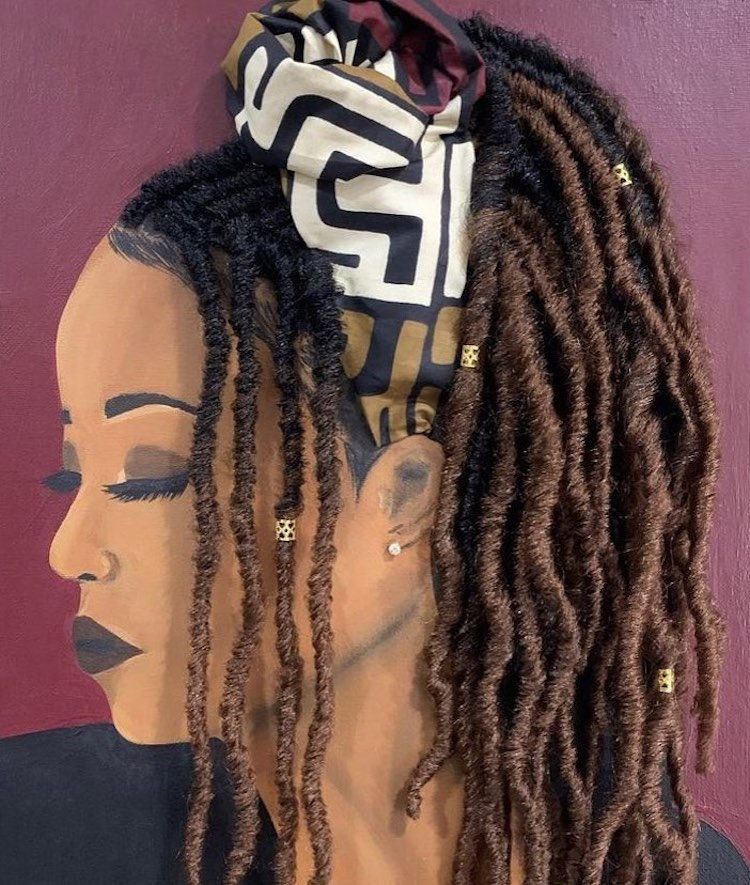 2 woman portrait painting artwork real hair braid by tyler clarke