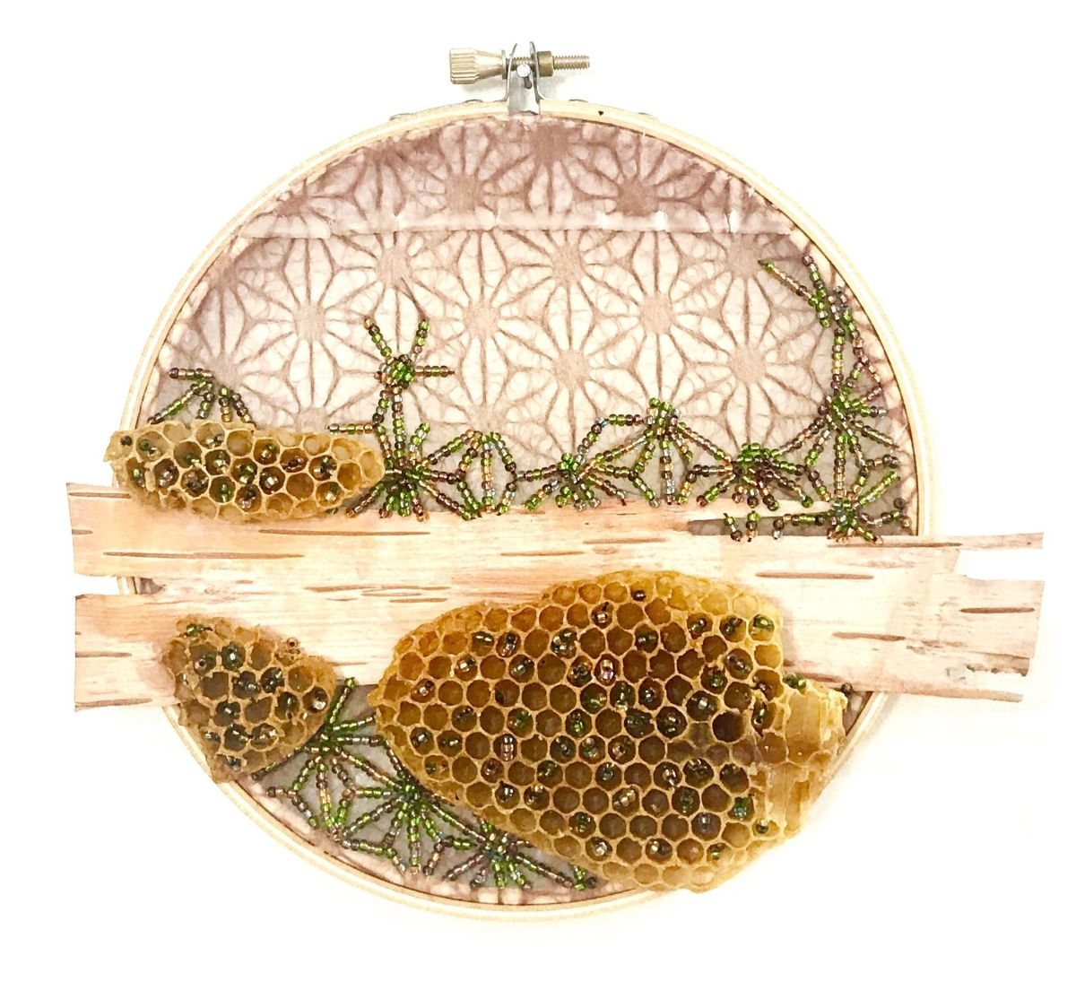 3 embroidery art beehive by ava roth