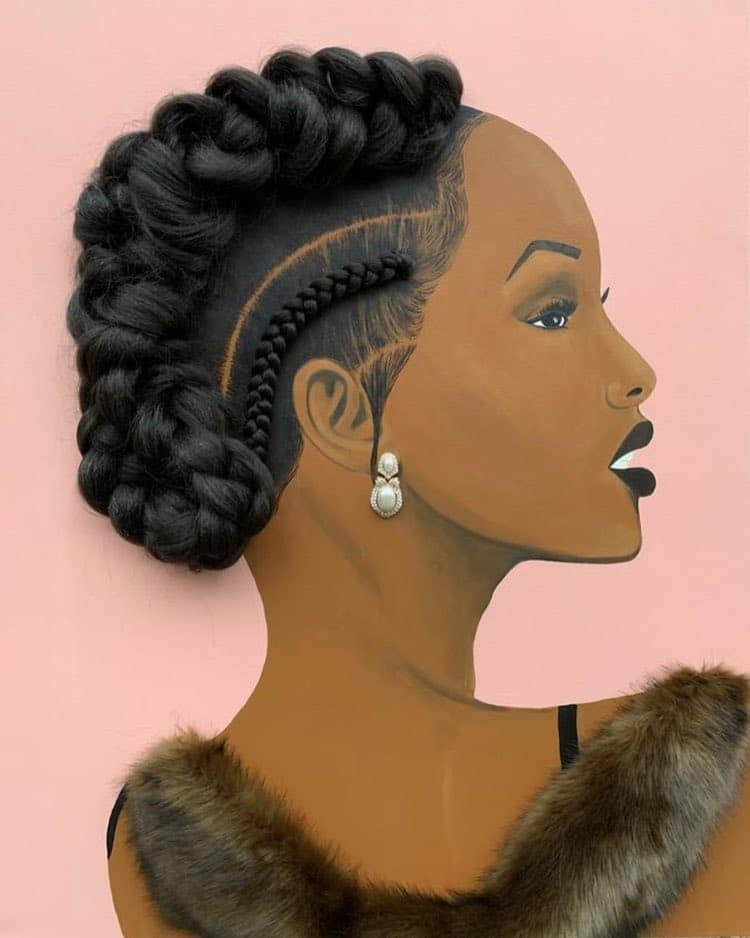 woman portrait painting artwork real hair braid by tyler clarke