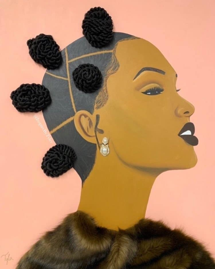 woman portrait painting artwork real hair braid bun by tyler clarke