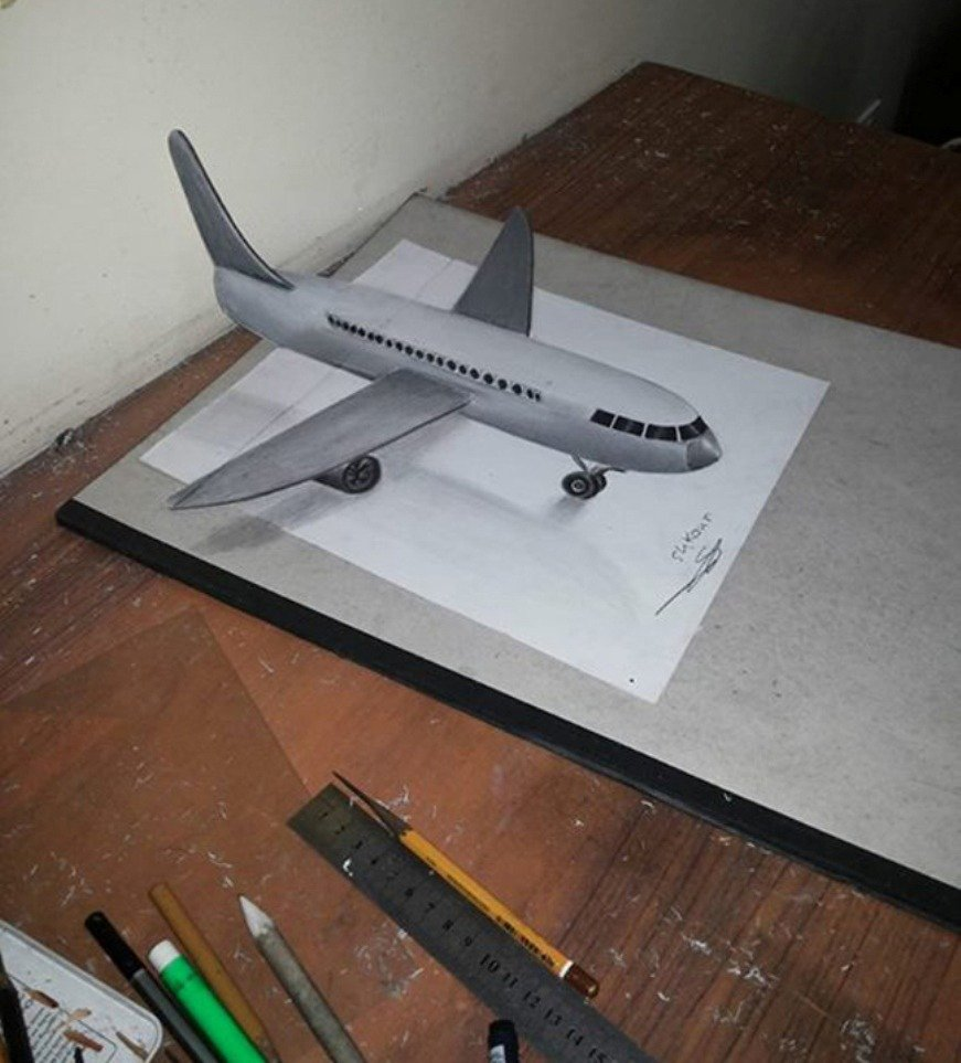 airplane 3d pencil drawing md shkour