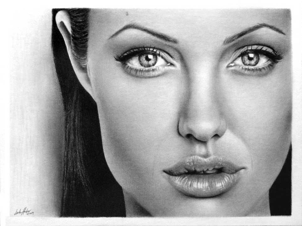 angeline jolie pencil drawing linda huber