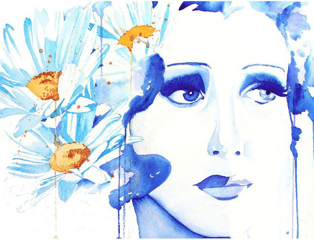 blue flower woman watercolor painting christina