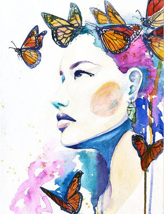butterfly woman watercolor painting christina