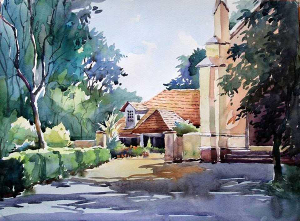 church watercolor painting sunil
