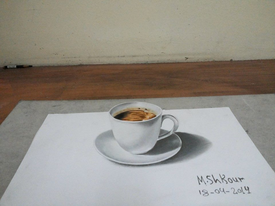 coffee 3d pencil drawing md shkour