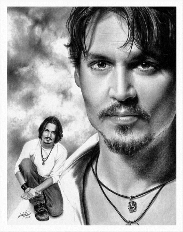 depp pencil drawing linda huber