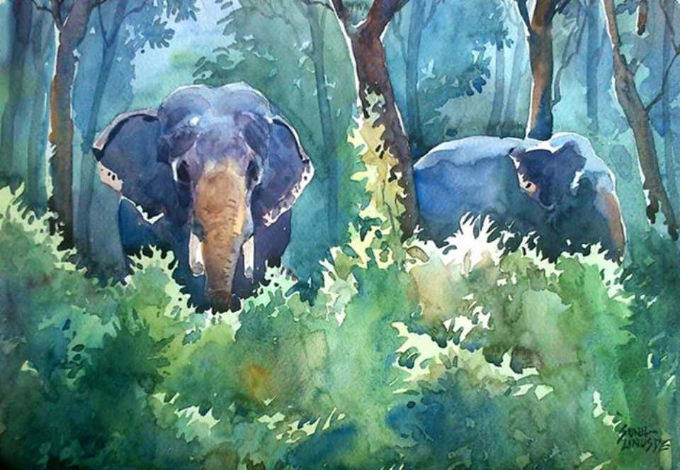 elephants-watercolor-painting-sunil