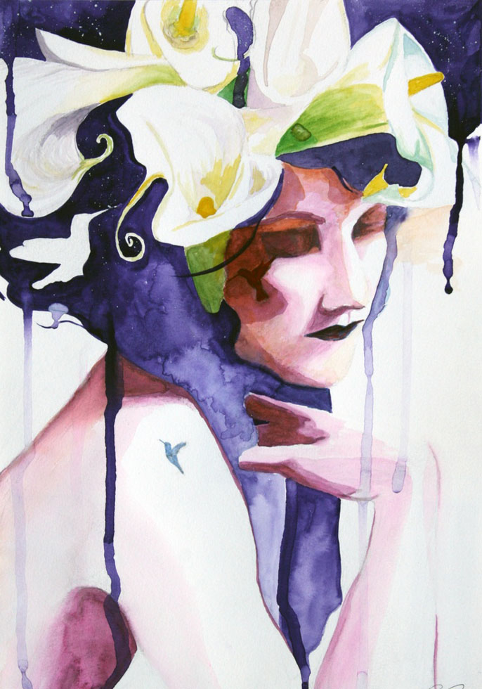 flower woman watercolor painting christina