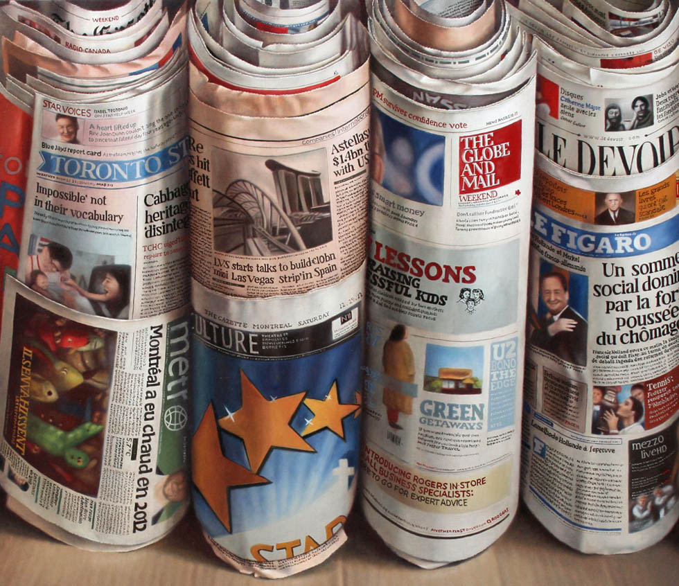 folded newspapers oil painting joan