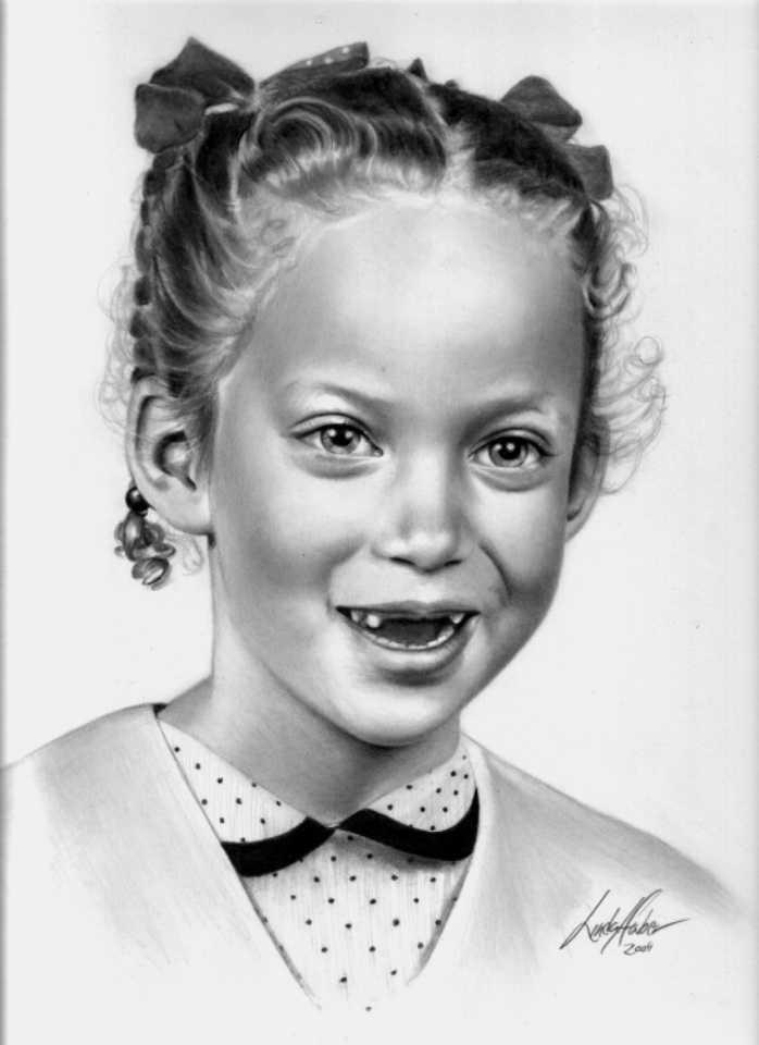 little girl pencil drawing linda huber
