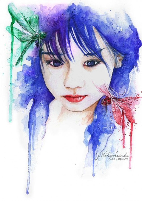 pretty woman watercolor paintings joanna