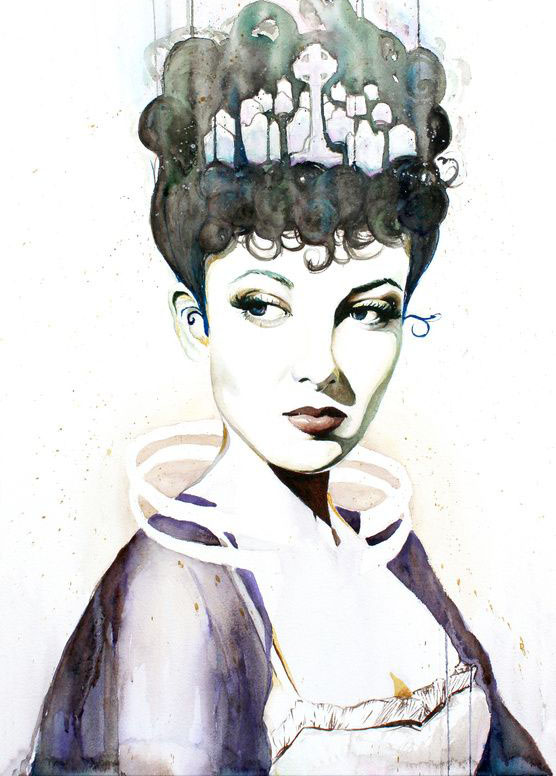 queen watercolor painting christina_0