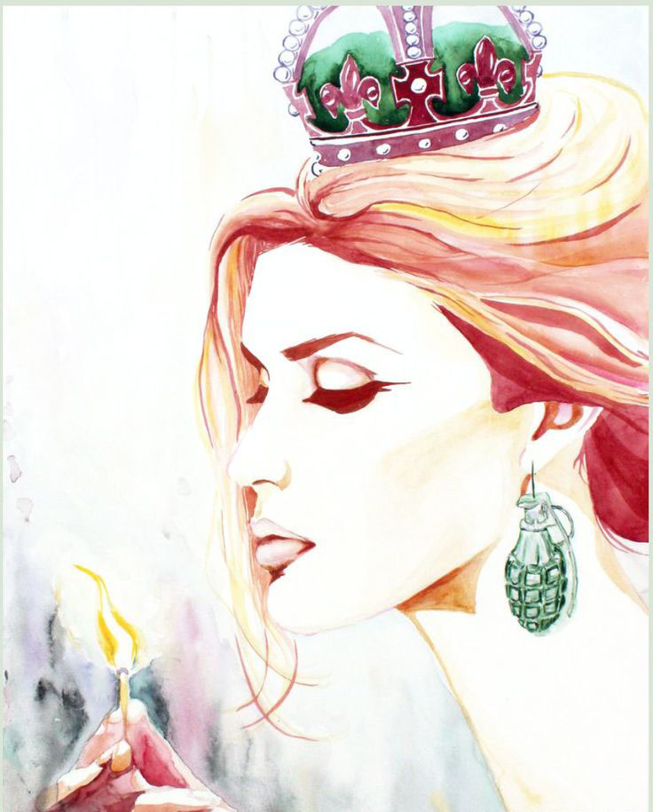 queen woman watercolor painting christina