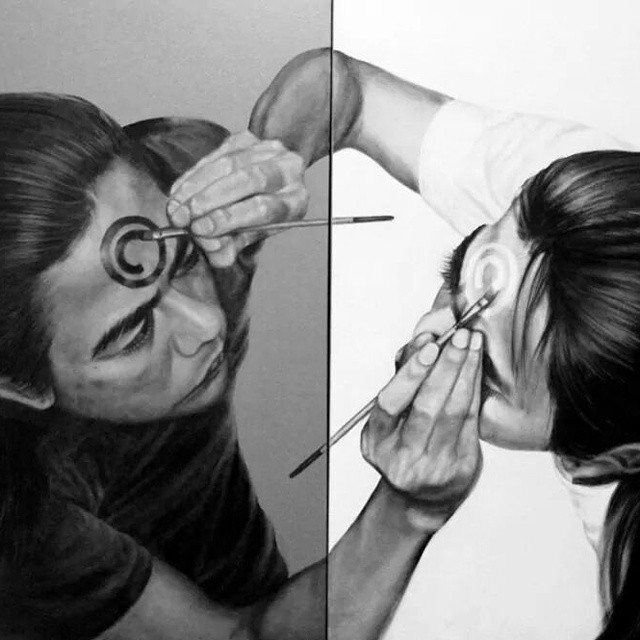 self double side drawing pencil drawing veri
