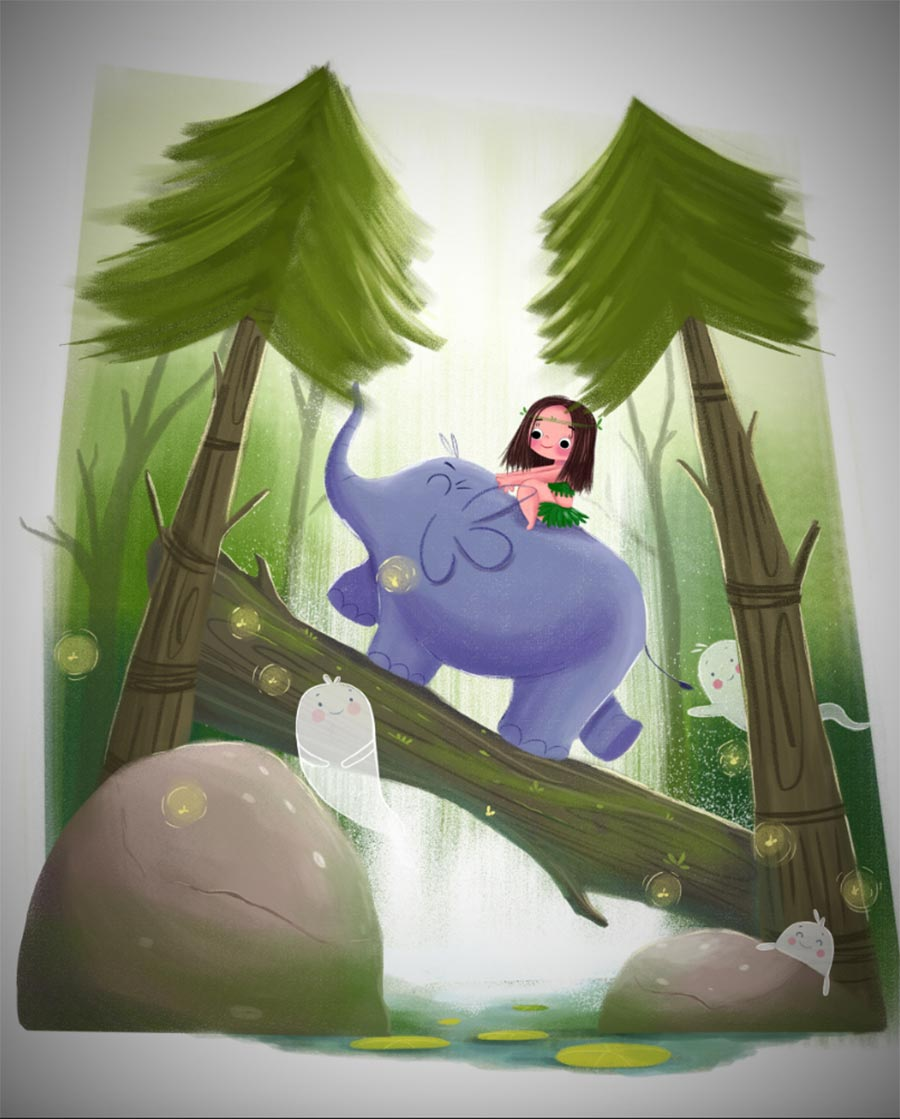 digital illustration elephant mowgli by bhumika jangid