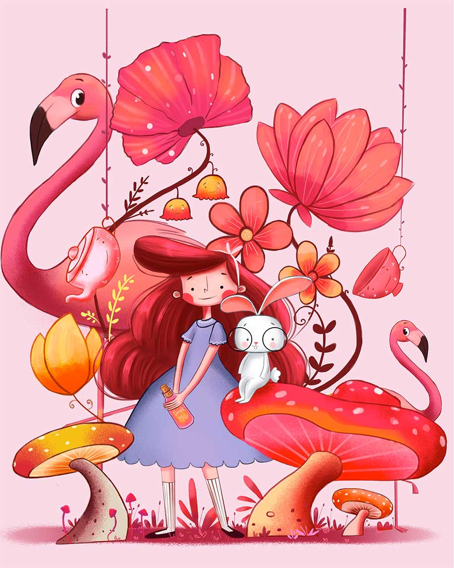 4 digital illustration flamingo friends by bhumika jangid
