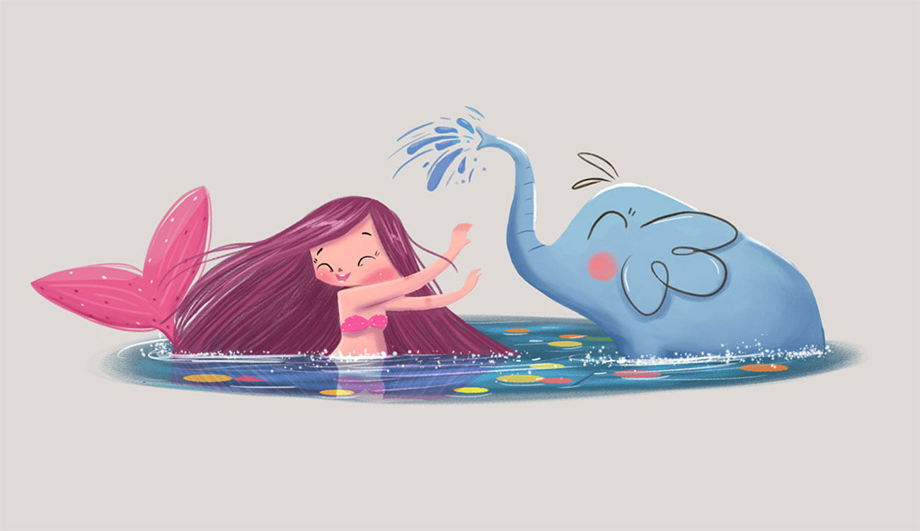 digital illustration mermaid elephant friend by bhumika jangid