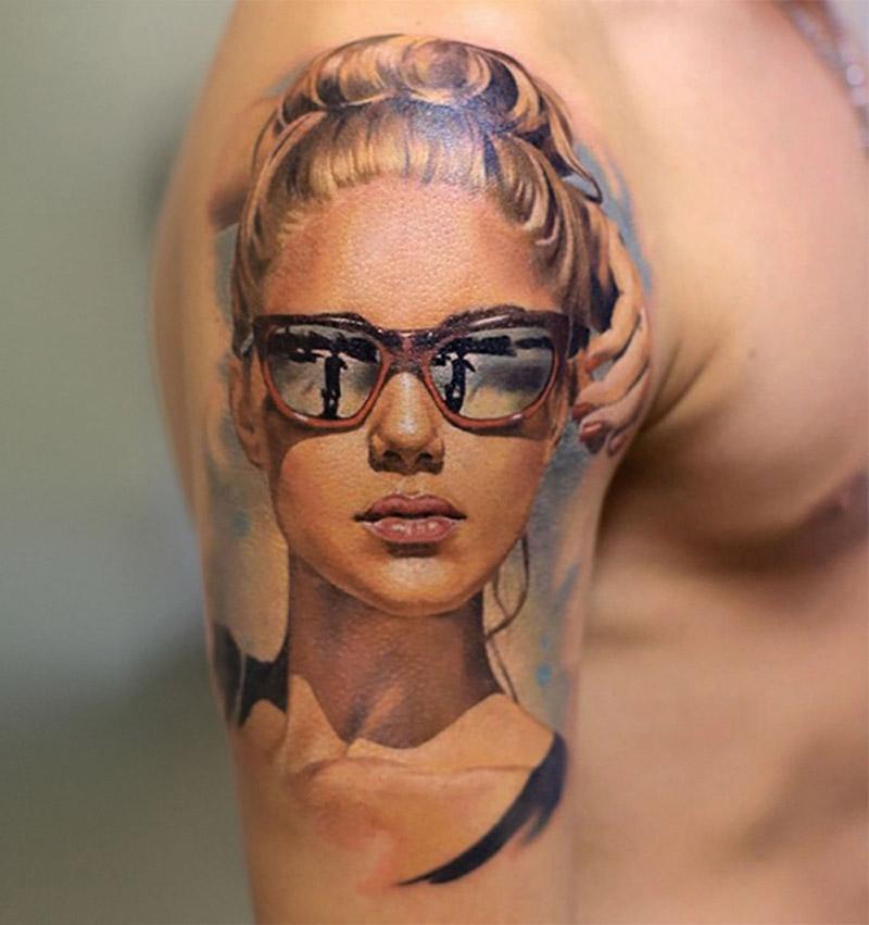 2 portrait tattoo realistic painting art valentina ryabova
