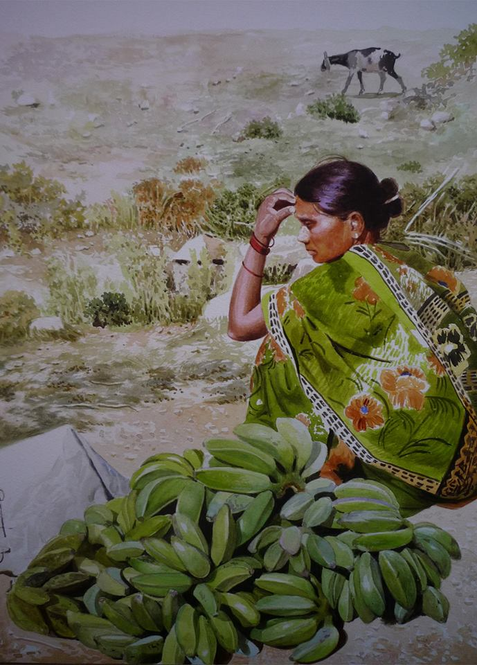 banana seller watercolor paintings raghunath