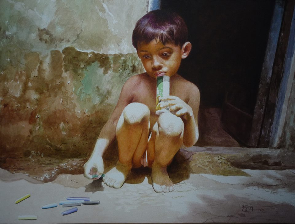 boy playing watercolor paintings raghunath