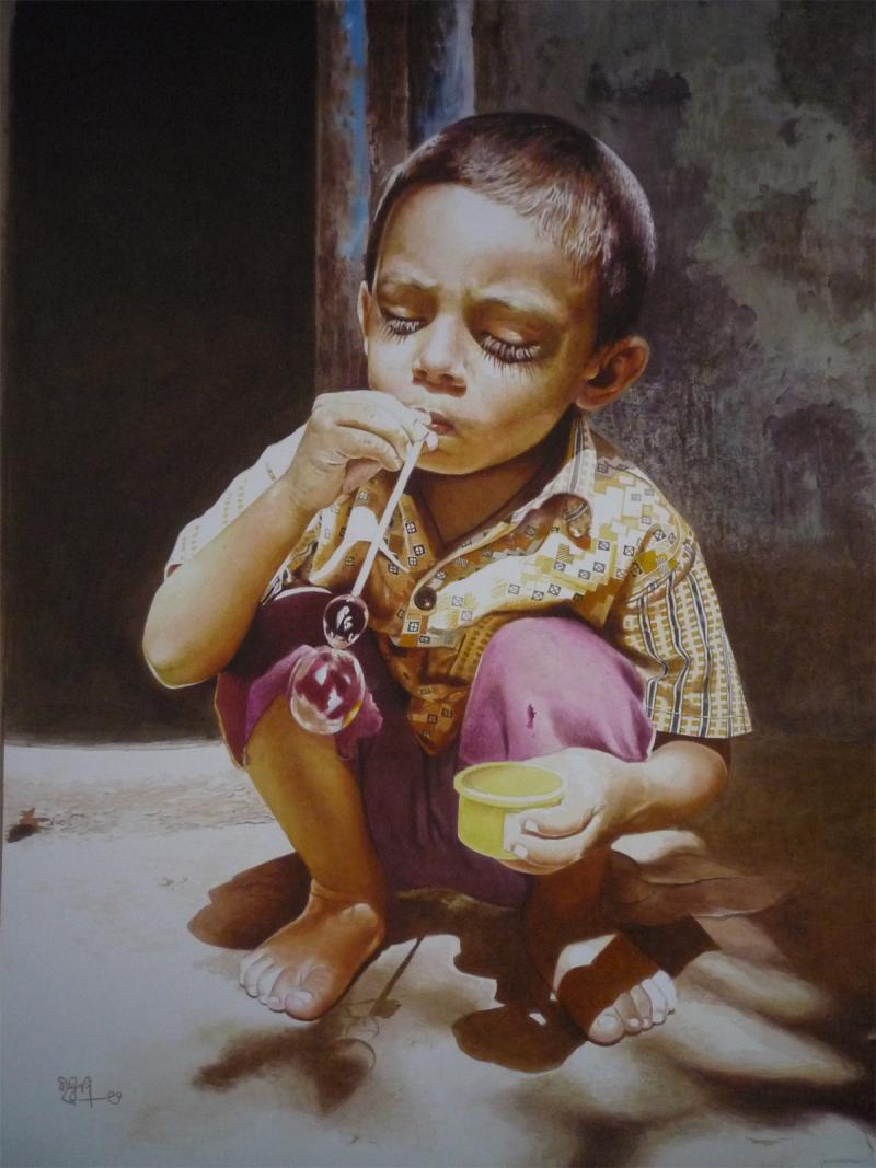 boy watercolor paintings raghunath