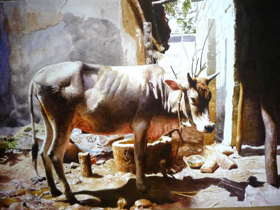 cow watercolor paintings raghunath