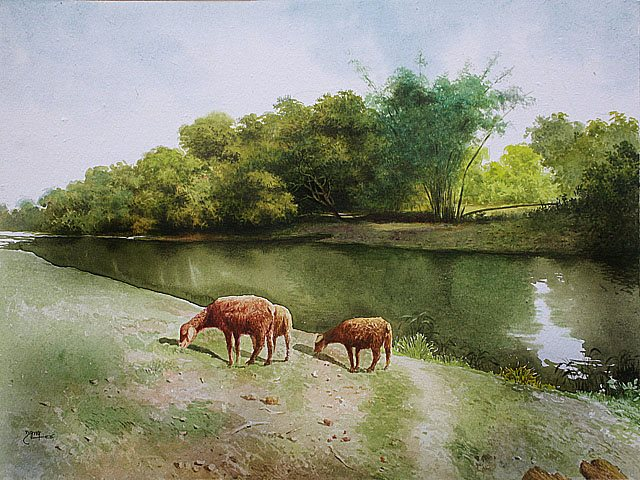 goat watercolor paintings raghunath