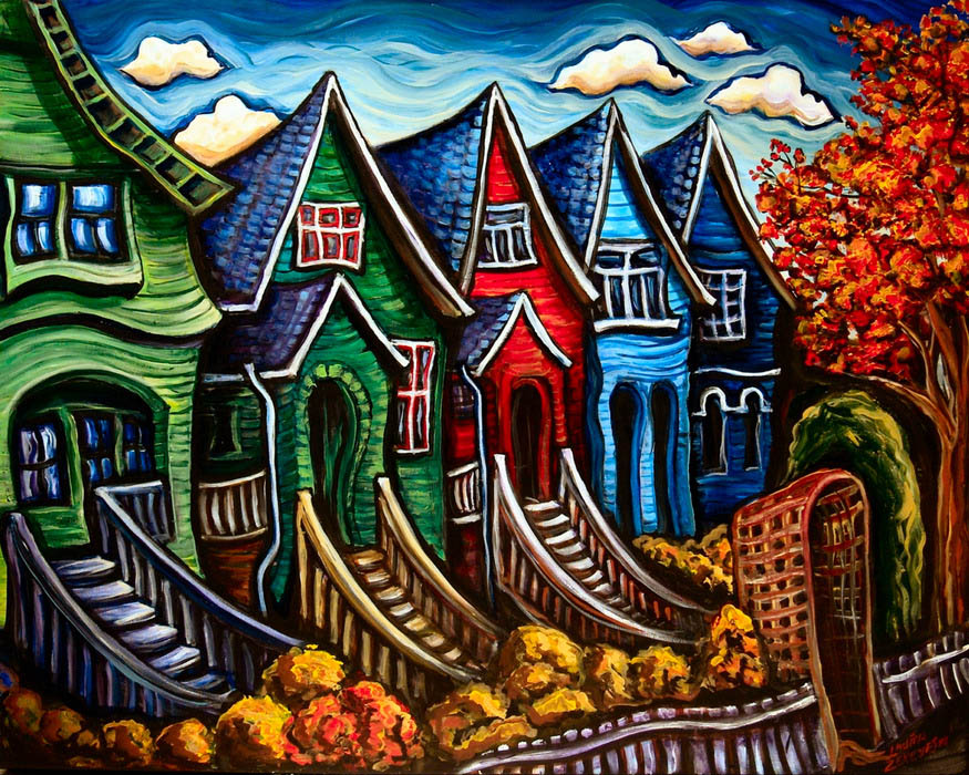 houses colorful paintings vancouver