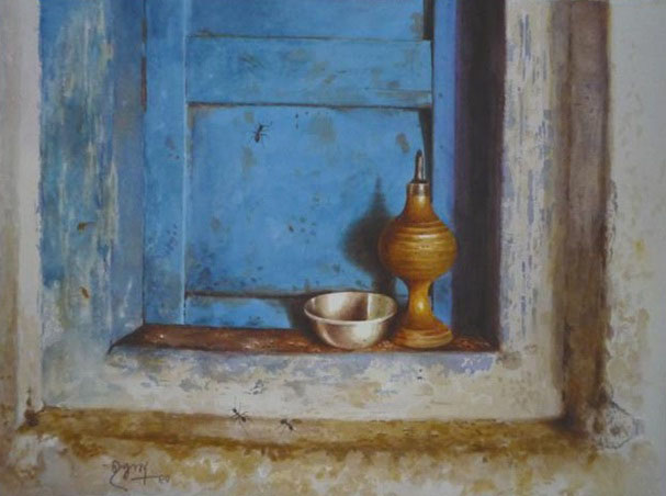 lamp watercolor painting raghunath