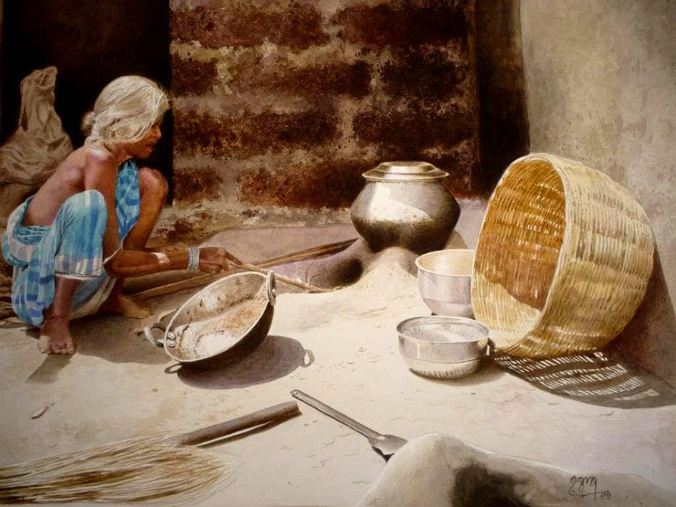 old lady cooking watercolor paintings raghunath