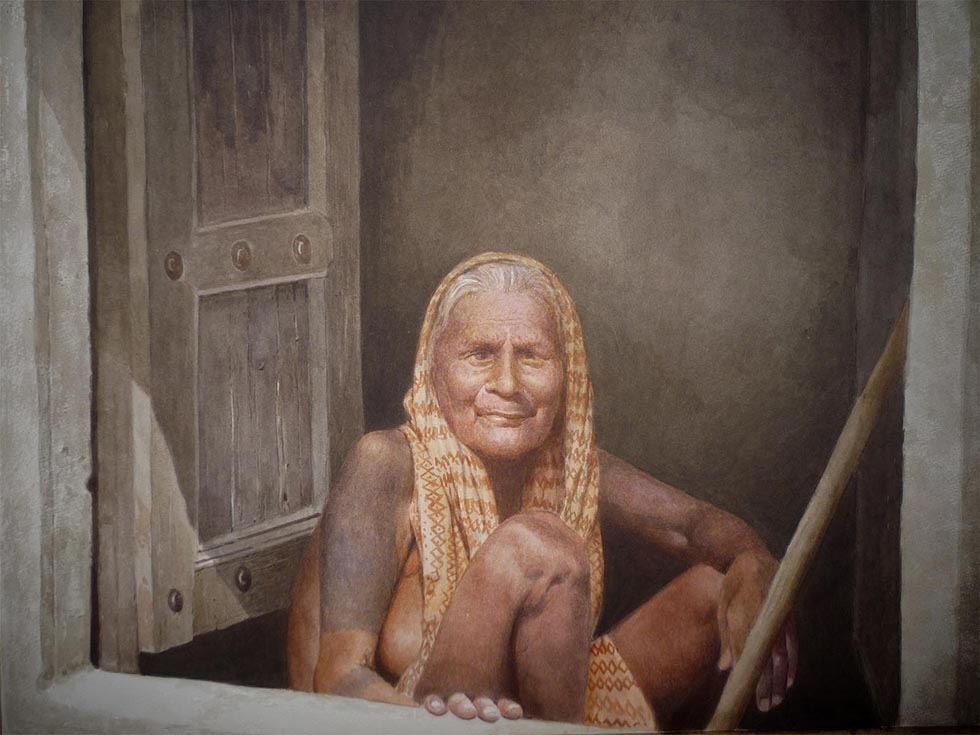 old woman watercolor painting raghunath
