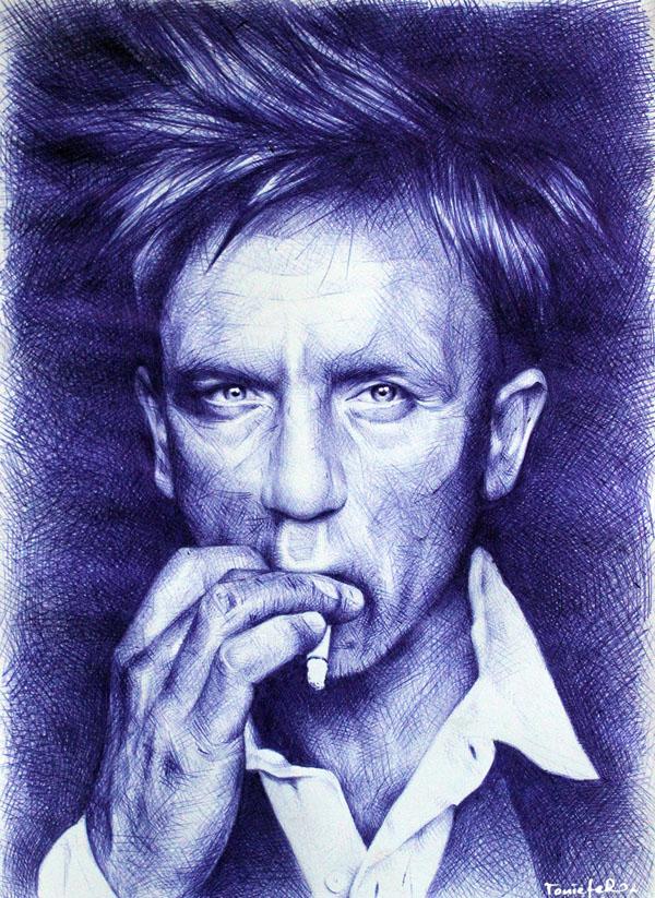 smoking man ballpoint pen drawing toni