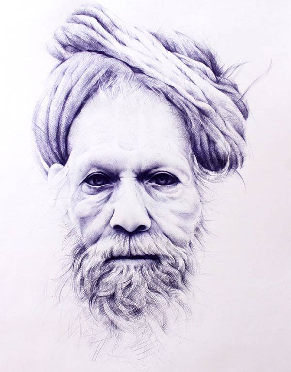 traditional man ballpoint pen drawing toni