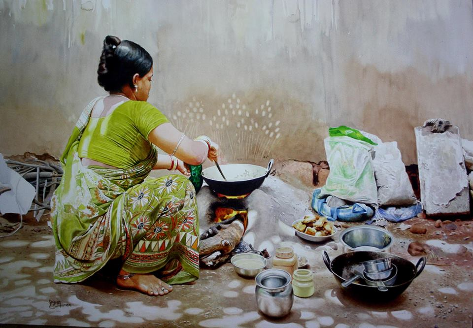 woman cooking watercolor paintings raghunath