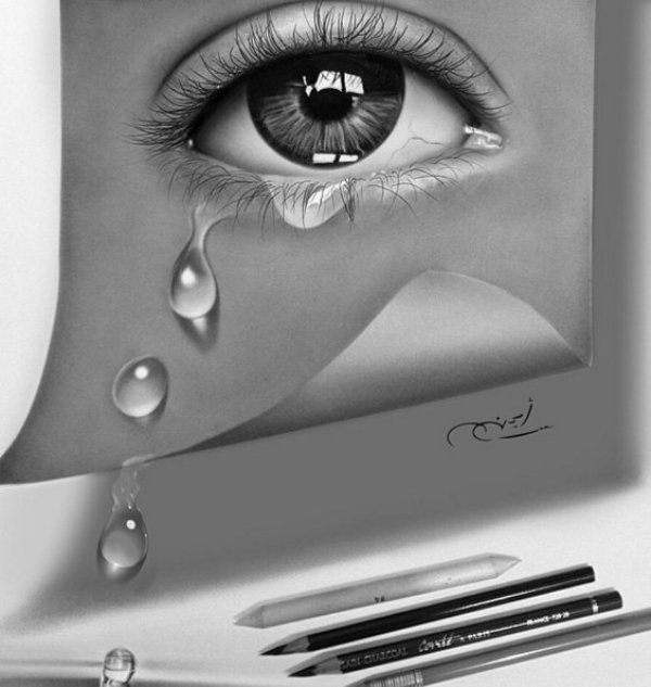 teary eye pencil drawing by ayman