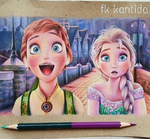 3 colour pencil drawing by froy kantida