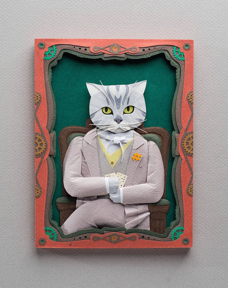 handcut craft paper pets portraits