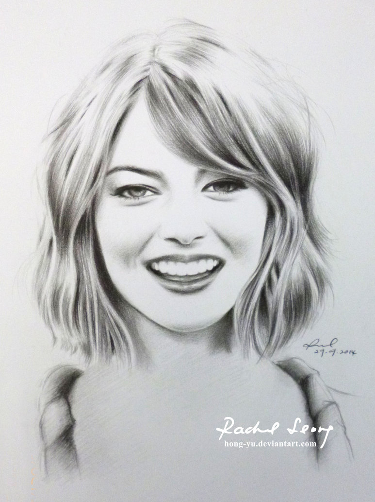 emma stone pencil art by leong hong yu
