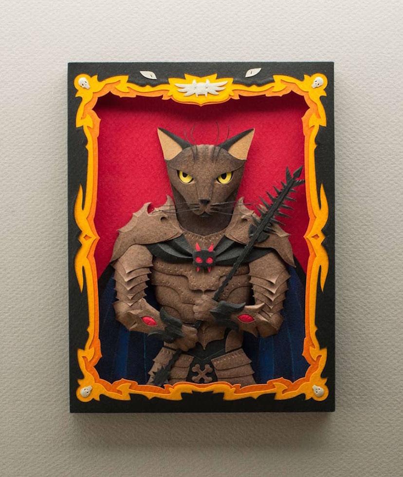 5 handcut craft paper pets portraits
