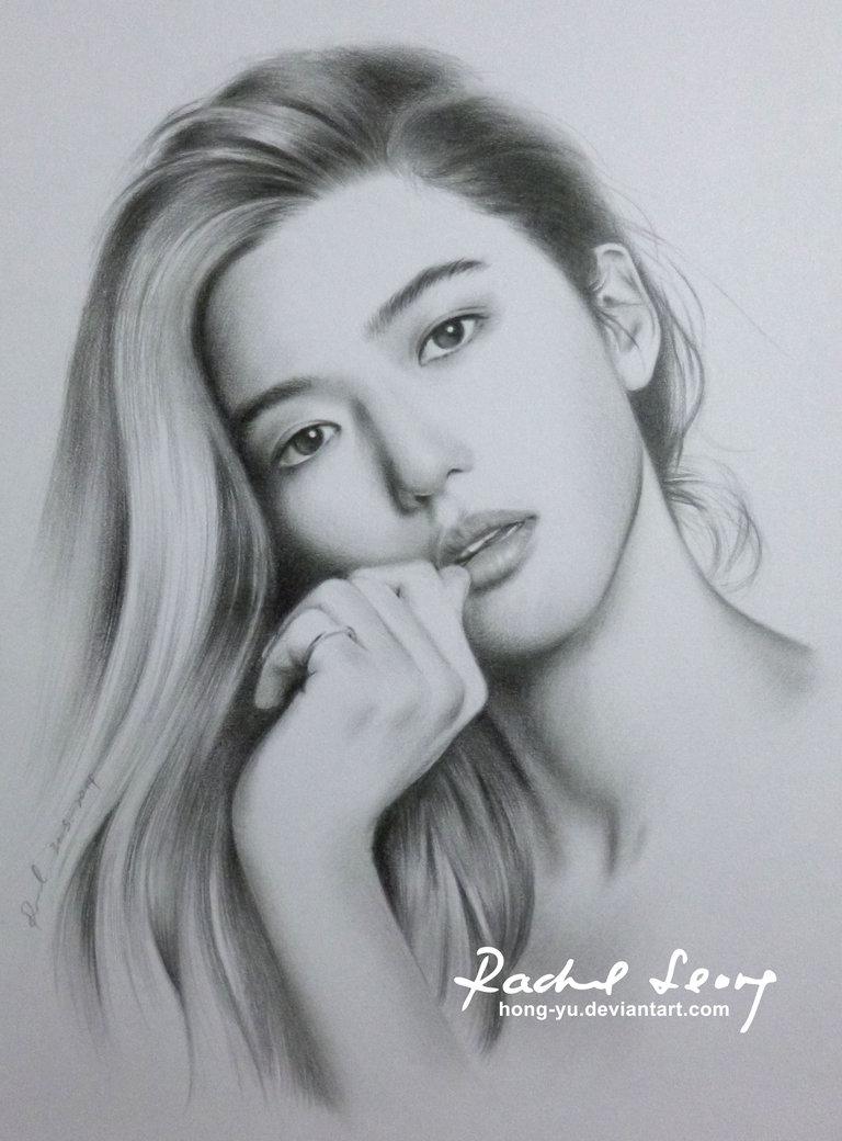 jeon ji hyun pencil art by leong hong yu