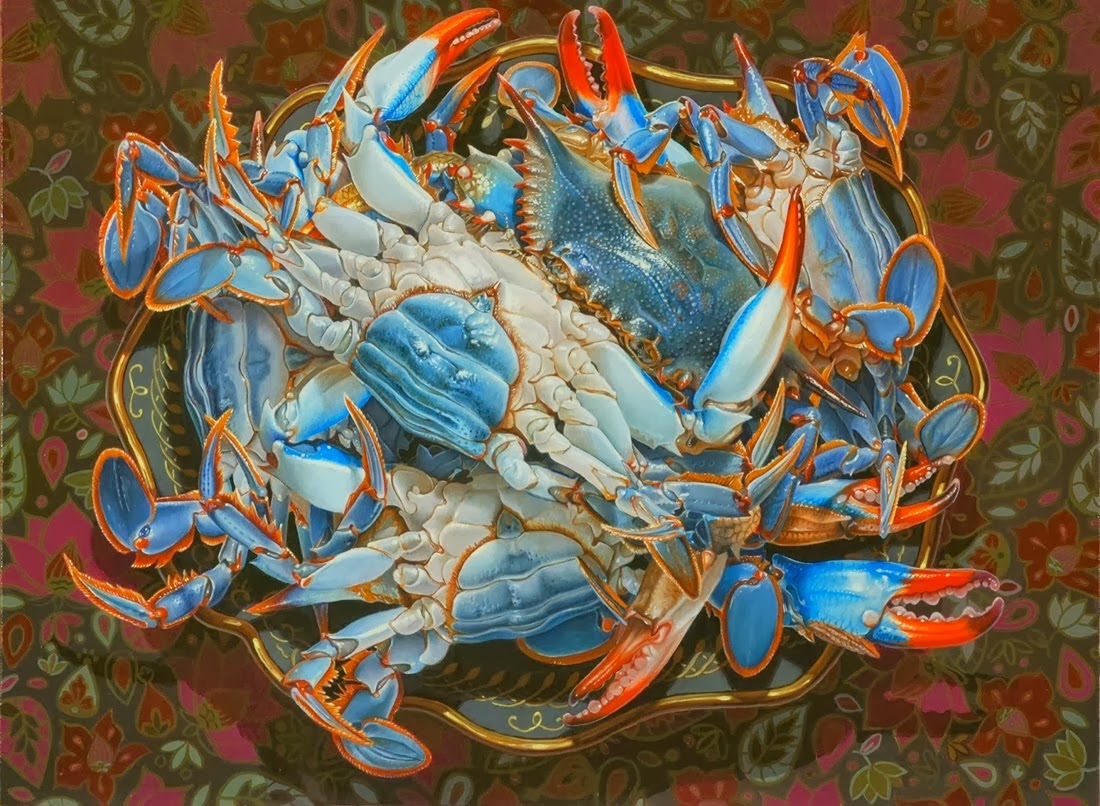 still life oil paintings blue crab eric wert